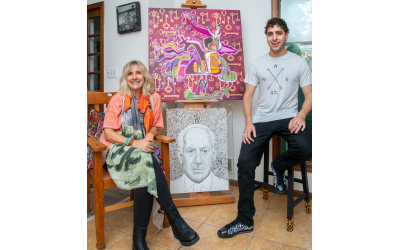 """Photos by Duane Stork // Karin and Daniel (in one of his own Atlanta T-shirt designs) contrast their styles. Daniel's """"Netanyahu"""" micro-bladed stencil took about 100 hours to create. Karin's work is """"Tsadi Bird."""""""