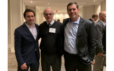 Proud sons flank Ken Stein: from left, Jason Stein and Todd Stein.