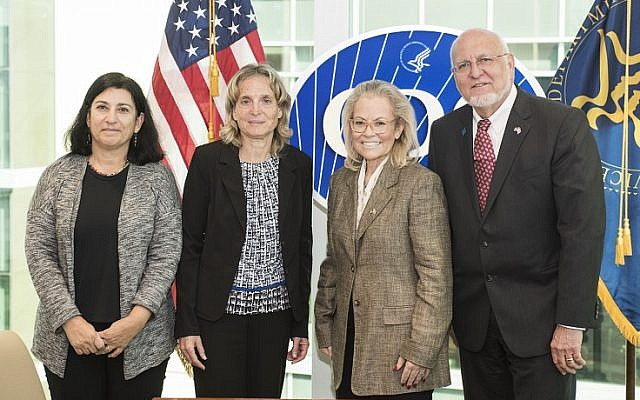From left: Dr. Lital Keinan-Boker, ICDC deputy director; Dr. Tamar Shohat, ICDC director; Ambassador Judith Varnai Shorer, Consul General of Israel to the Southeast; and Dr. Robert Redfield, CDC director.