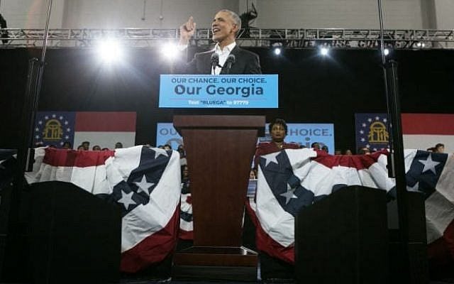 Former President Barack Obama campaigns for Georgia Democratic gubernatorial candidate Stacey Abrams at Morehouse College in Atlanta.