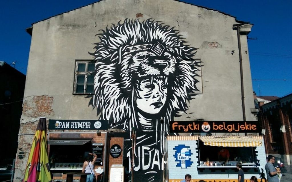 "Israeli artist Pil Peled's ""Judah"" stands defiantly in Krakow, Poland's historic Jewish quarter, Kazimierz. (Photo by David R. Cohen)"
