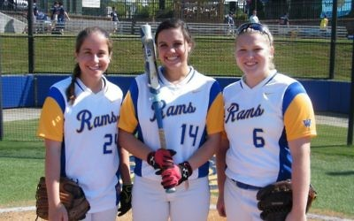 Weber softball senior Remy Zimmerman stands in between senior Meredith Galanti (left) and Sophomore Mauri Viness (right)