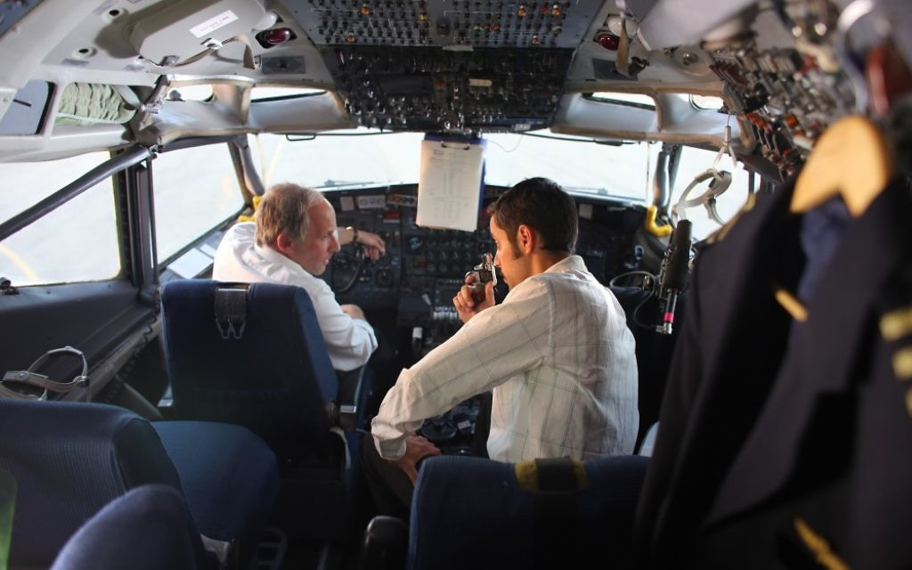 "Tension joins pilot Reginald Levy (Bobby Lax) and terrorist Ali Taha Abu Sneine (George Iskandar) in the cockpit of Sabena Flight 971 in ""Sabena Hijacking: My Version."""