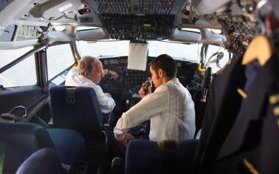 "Tension joins pilot Reginald Levy (Bobby Lax) and terrorist Ali Taha Abu Sneine (George Iskandar) in the cockpit of Sabena Flight 971 in ""Sabena Hijacking: My Version."""