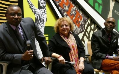 (From left) Robert Battle, Lili Baxter and Derreck Kayongo take audience questions at the National Civil and Human Rights Center.