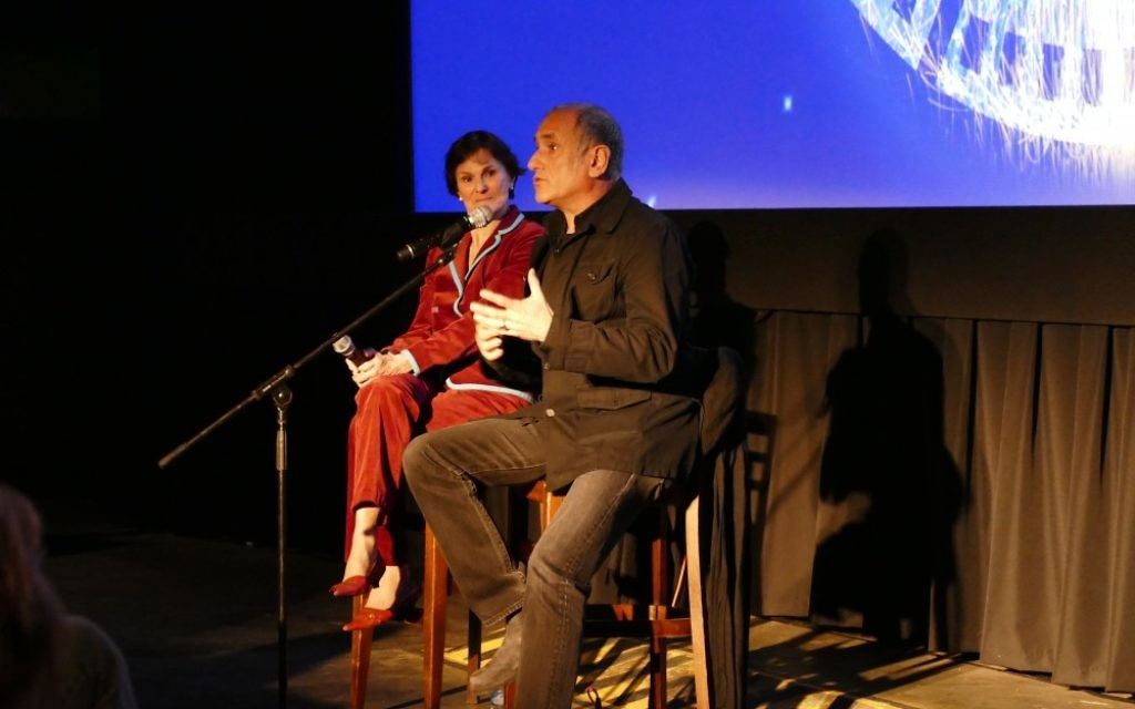 "David Broza and Lois Frank discuss Broza's film ""East Jerusalem West Jerusalem"" after the screening."