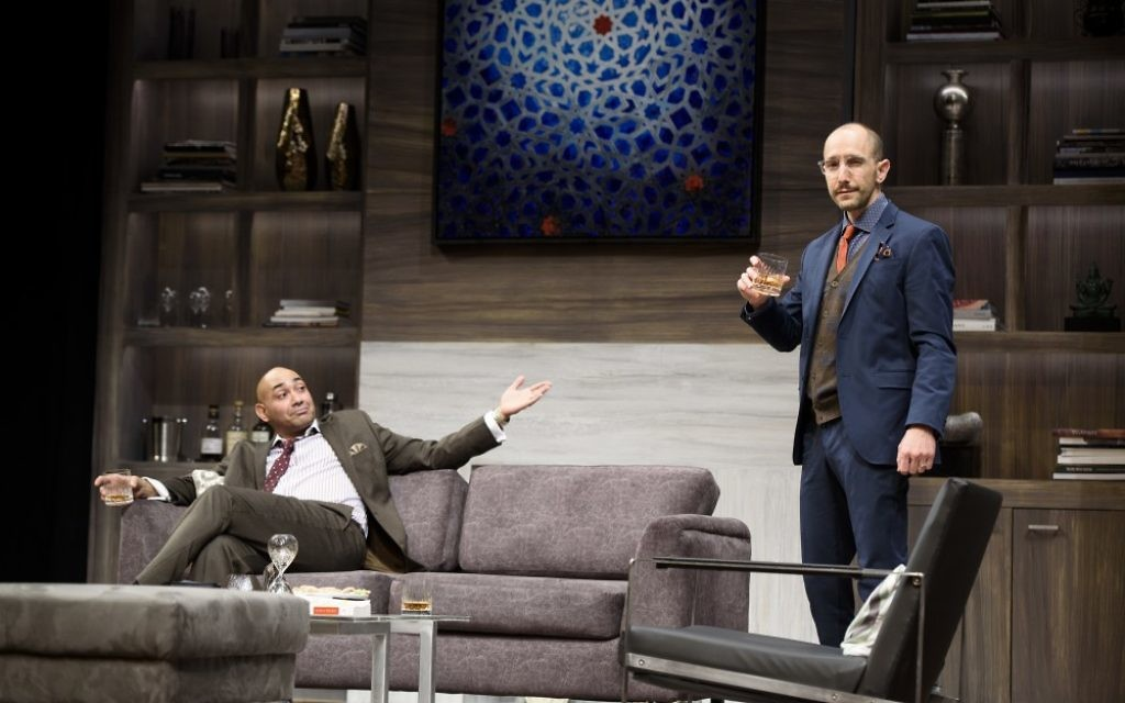 """Amir (Andrew Guilarte) and Isaac (Andrew Benator) delve into tough issues in """"Disgraced."""""""