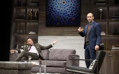 "Amir (Andrew Guilarte) and Isaac (Andrew Benator) delve into tough issues in ""Disgraced."""