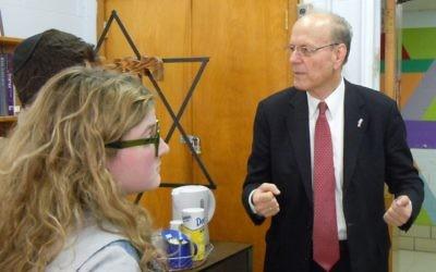 Yoram Ettinger talks to Atlanta Jewish Academy students after his speech Feb. 4.