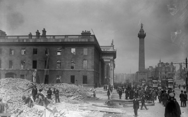 The heart of the rebellion was based in the General Post Office on Sackville Street (now O'Connell Street), which was left a pockmarked shell surrounded by debris.