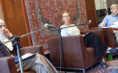 Hounada Sinno (left), the Rev. Kate McGregor Mosley and Rabbi Laurence Rosenthal discuss the environment Aug. 21.
