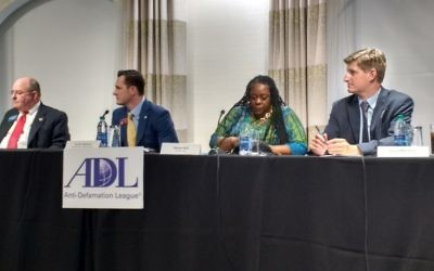 GBI Director Vernon Keenan (left), Rep. Taylor Bennett, Rep. Simone Bell and AJC reporter Greg Bluestein (right) talk about hate crimes legislation at an ADL event Aug. 17, 2016. (Photo by Benjamin Kweskin)