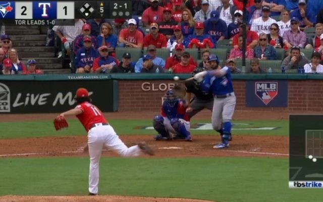 Kevin Pillar hits a home run off Yu Darvish in Game 2 of the Toronto-Texas playoff series Oct. 7. (Screen grab from MLB.tv video)