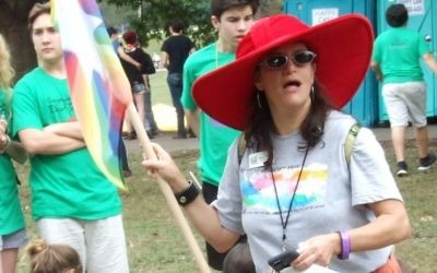 SOJOURN Executive Director Rebecca Stapel-Wax has some fun after the 2015 Atlanta Pride Parade.