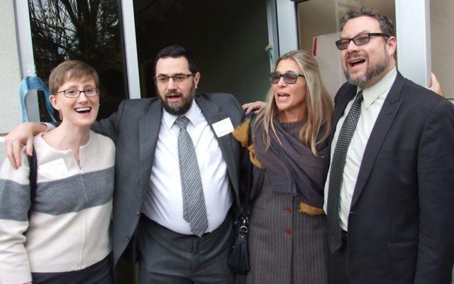 Rabbi Analia Bortz (second from right) joinsRabbis Loren Filson Lapidus, Joshua Hellerand Michael Bernstein atthe MACoM opening in November 2015.