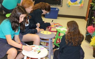 Davis Academy Middle School students make masks, symbolic of the ones we all wear to hide our true identities.