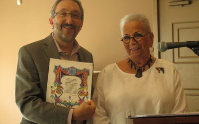 Rabbi Mark Zimmerman's Congregation Beth Shalom plays host to Bonnie Brummer and other Hadassah members.