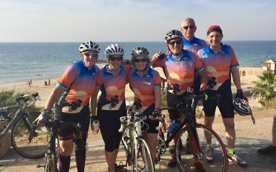 The JNF-Atlanta team of Amy Kahn, Pam Kelly, Ann Potosky Weiner, Morris Maslia, Alan Lubel and Richard Mitchell cools off by the beach in Ashkelon at the end of Day 1.