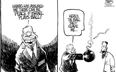 Remember that time in 2008 when Jimmy Carter wanted Hamas invited to peace talks? (Cartoon by Nate Beeler, The Columbus Dispatch)