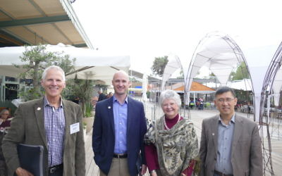 (From left) Geert de Vries, Timothy Denning, Julia Hilliard and Binghe Wang visit the old Jerusalem railway station.