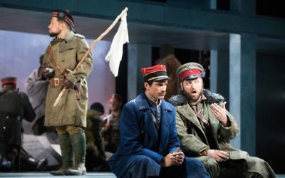 """German Lt. Horstmayer (Craig Irvin, right) and French Lt. Audebert (Matthew Worth) get to know each other during the Christmas truce in """"Silent Night."""""""