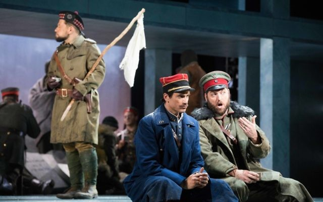 "German Lt. Horstmayer (Craig Irvin, right) and French Lt. Audebert (Matthew Worth) get to know each other during the Christmas truce in ""Silent Night."""