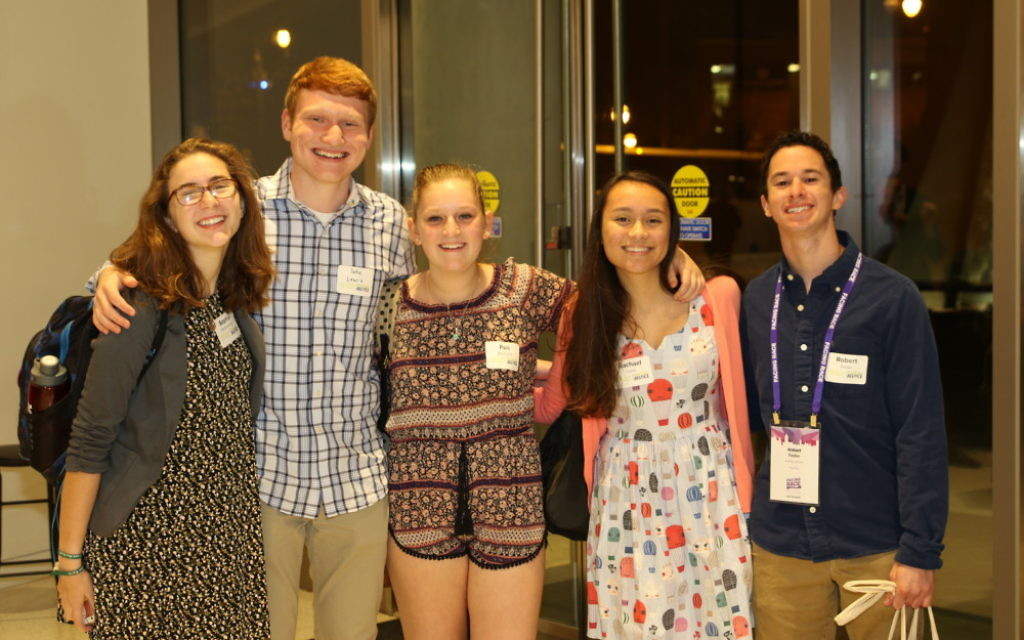 NFTY members (from left) Sophie Richardson, Jake Lewis, Paili Bachrach, Rachael Davis and Robert Feder arrive for Repair the World's Turning the Tables dinner Nov. 11. (Photo courtesy of Repair the World)