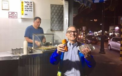 Morris Maslia gets the falafel at Falafel Mizrachi.