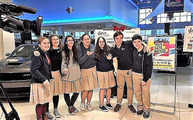 Atlanta Jewish Academy student leaders celebrate winning the second annual Landmark Safe Teen Driver contest.