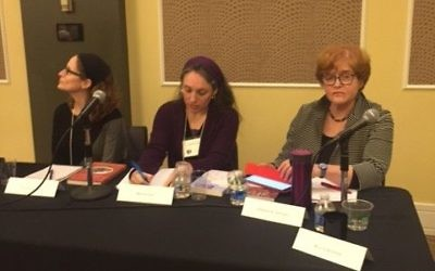 (From left) Ellie Schainker, Miriam Udel and Deborah Lipstadt present their recently published books.