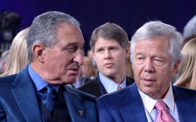 Arthur Blank (left) says he has been close with Patriots owner Robert Kraft since he bought the Falcons in early 2002. Kraft advised him to run the Falcons as he had run Home Depot.