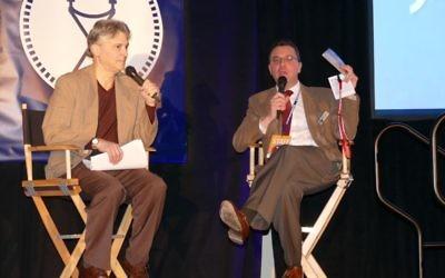 Emory University film professor Matthew Bernstein interviews festival Executive Director Kenny Blank about the 17th Atlanta Jewish Film Festival. (Photo by Sarah Moosazadeh)