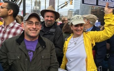 Rabbi Joshua Lesser, shown during the Women's March in January 2017, provided a Jewish voice at an interfaith religious service in Newnan on April 21.