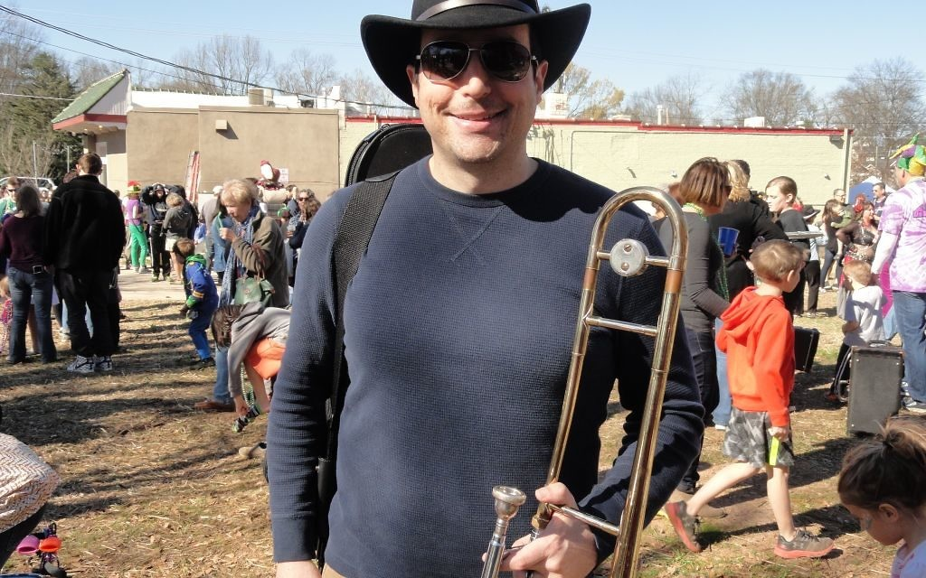 A talented guitarist, Nick Edelstein also plays a variety of other instruments including trombone in the Black Sheep Ensemble.