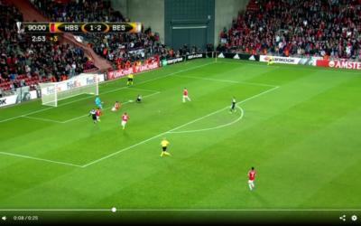 Besiktas' third goal in the final seconds seals Hapoel Be'er Sheva's loss Feb. 16 (screen grab from ESPN video).