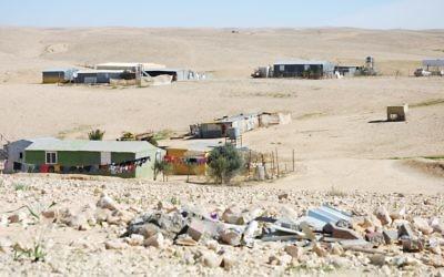 An unrecognized Bedouin village in the Negev. (Photo by Eli Sperling)