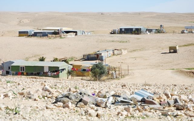 An unrecognized Bedouin village in the Negev. (Photo by Eli Sperling)