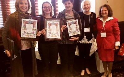 Graduates of the first class of the Centennial Leadership Institute (from left) Ellen Sichel, Abi Gross and Anita Otero join outgoing GAH President Paula Zucker and incoming GAH President Sheila Dalmat (right). Graduates not shown are Debra Sharker, Marilyn Scheier, Rochelle Schube and Judith Cohen.
