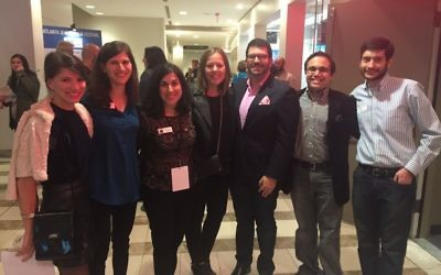 Enjoying young professionals night at the film festival are (from left) event co-chair Maddie Cook, Julia Katz, Dina Fuchs-Beresin, Gabby Leon, event co-chair Mark Spatt, Brandon Goldberg and ACCESS co-chair Nathaniel Goldman.