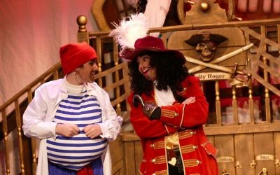 Smee (Matthew Szabo) and Captain Hook (Darren Rosing) work on their latest plot to find Peter Pan.