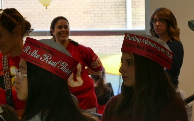 Temima students promote the forthcoming musical during the Purim carnival at Congregation Beth Jacob on Sunday March 5