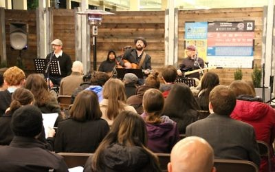 Rabbi David Spinrad, Sammy Rosenbaum and Michael Levine lead a special edition of The Temple's monthly Well series at City Winery during AJMF8.