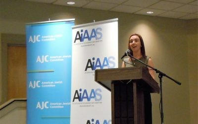 Founding partner Lauren Menis speaks at the Atlanta Initiative Against Anti-Semitism's Atlanta Leadership Forum on Anti-Semitism on March 30.