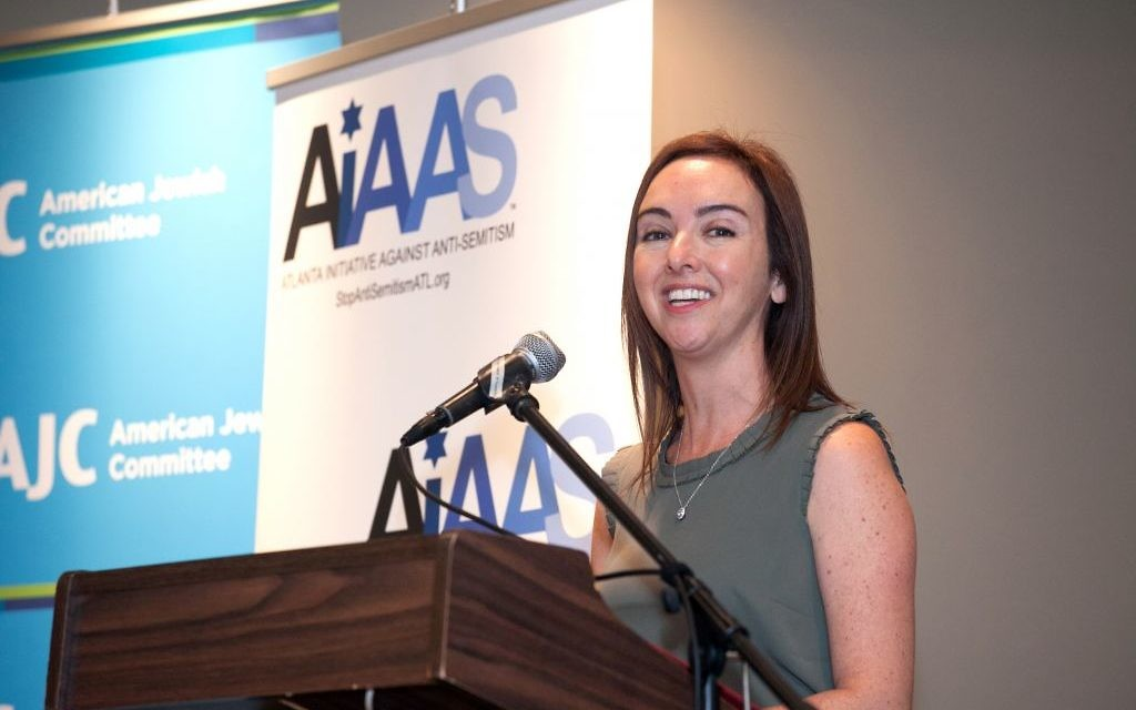 Founding partner Lauren Menis addresses the leadership forum held March 30 by the Atlanta Initiative Against Anti-Semitism. (Photo by Eric Bern)