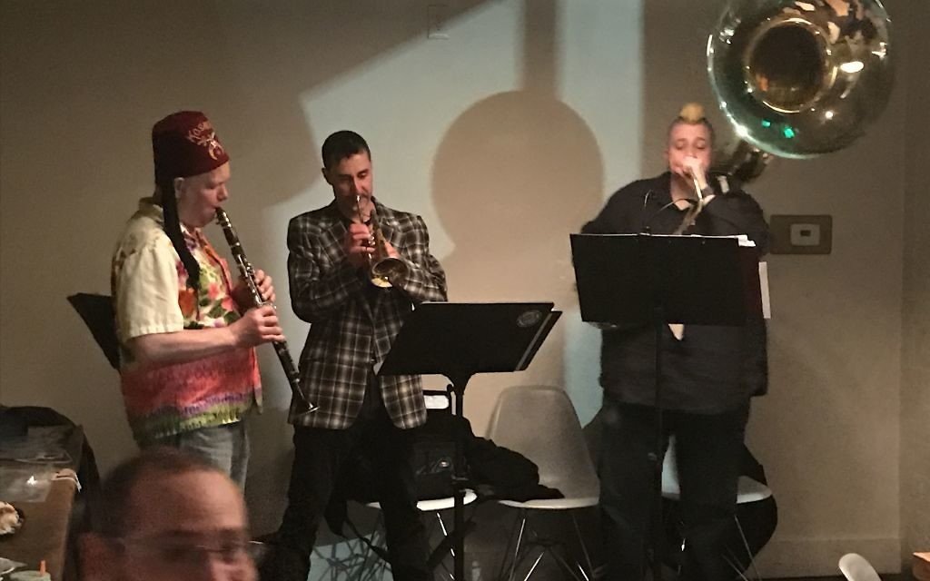 A jazz band provides the music for the YJP Purim party.