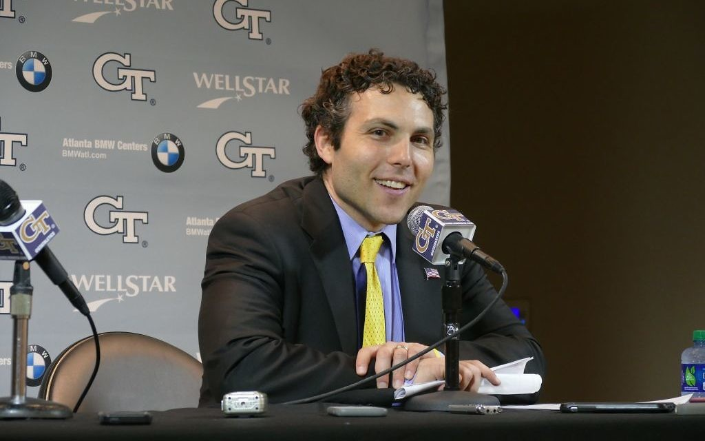 Georgia Tech men's basketball coach Josh Pastner speaks to the media after the team's final home game of the regular season Feb. 28. (Photo: David R. Cohen)