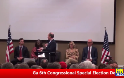 Ron Slotin questions Jon Ossoff's failure to file financial disclosure forms during the Needles in a Haystack candidate forum Sunday, March 12. (Screen grab from FetchYourNews TV video on YouTube)
