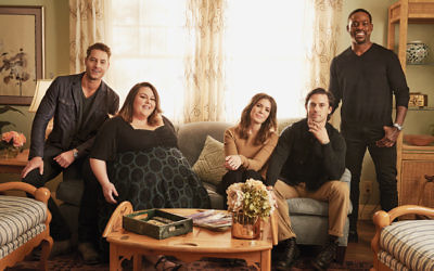 Justin Hartley, Chrissy Metz, Mandy Moore, Milo Ventimiglia and Sterling K. Brown on the set of This Is Us.