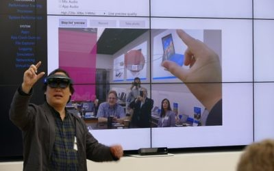 James Ashley gives a live demo of the Microsoft HoloLens at the first Conexx Lifestyle Connector meeting.