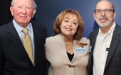 Survivor Murray Lynn (left) and Breman Museum board Chair Craig Frankel flank Liliane Baxter at a Bearing Witness event at the Breman in March.